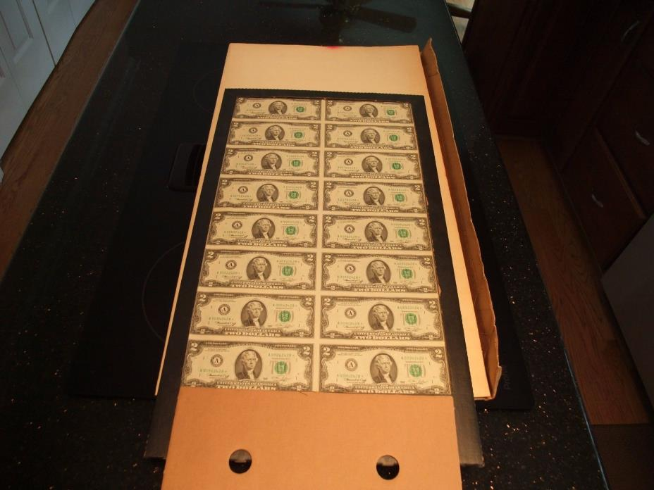 1976 Uncut Sheet of 16 US $2 Dollar Bills Uncirculated Original Packaging