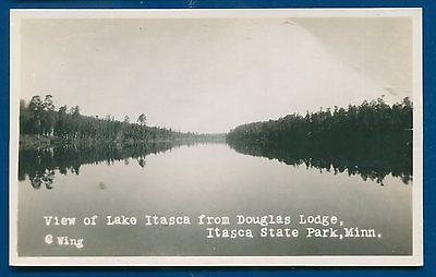 View Lake Itasca Douglas Lodge State Park Minnesota mn real photo postcard RPPC