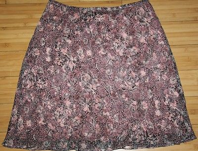 Max Studio Womens 100% Silk A-Line Pink & Brown Floral Lined Skirt Size M