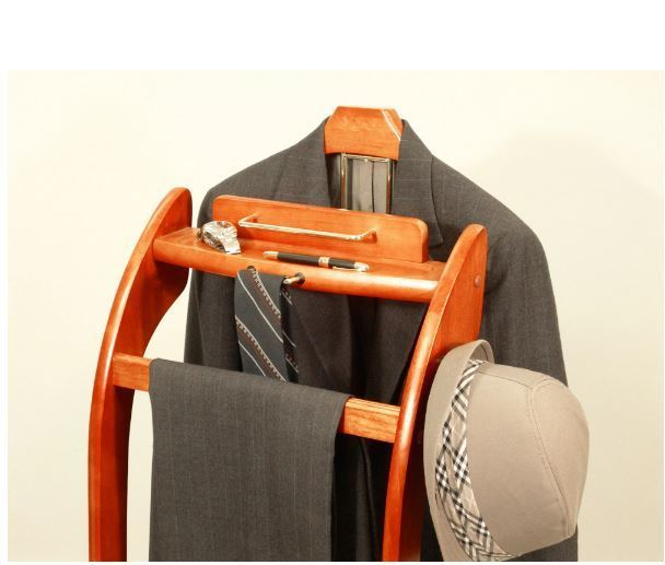 Suit Valet Stand Rack Hanger Men Clothes Executive Style Cherry Finish Butler