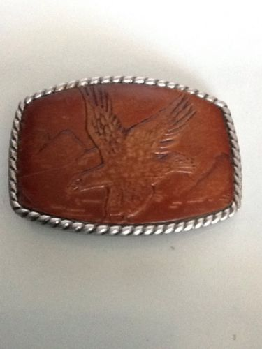 Metal handcrafted Belt Buckle Leather Soaring Eagle mountains 3.25 x 2.25