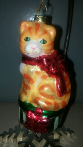 Orange Kitty Cat Glass Christmas Ornament