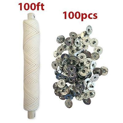 BRAIDED WICK SPOOL 100FT WITH 100 CANDLE WICK SUSTAINER TABS, candle wicks for