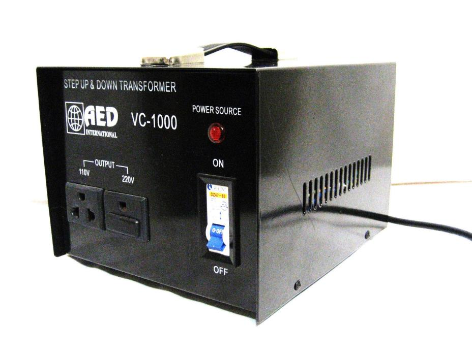 AED International VC-1000 Step Up & Down Transformer - 1000W - Jumpers 240-110V