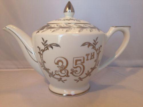 Lefton 25th Anniversary Tea Pot - Silver accents - Pattern  279 N