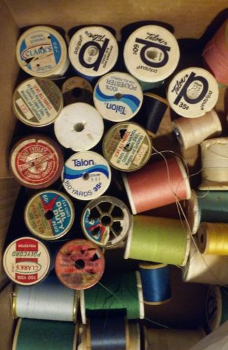 Large Lot Spool of Threads104 Sewing Stitching Fabric Wool Cotton Vintage Craft