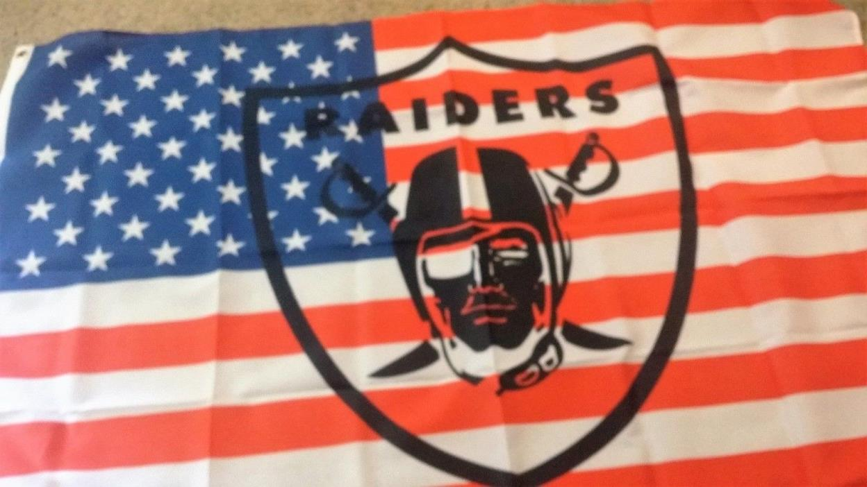 New Nfl Red,White & Blue Oakland Raiders 3X5 Flag