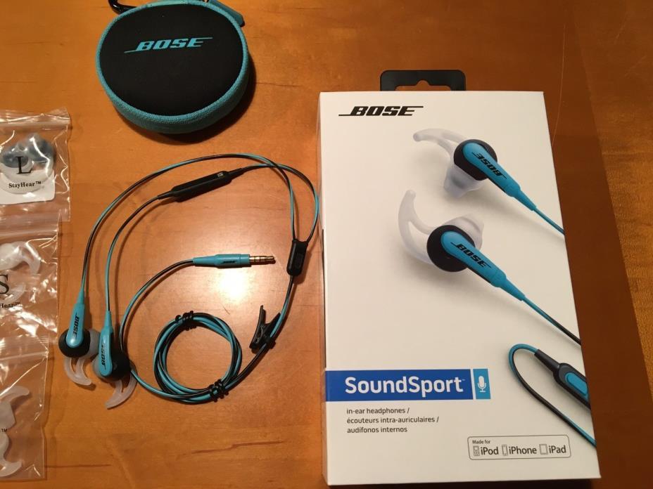 Bose SsoundSport Black/Blue Headphones - NEW