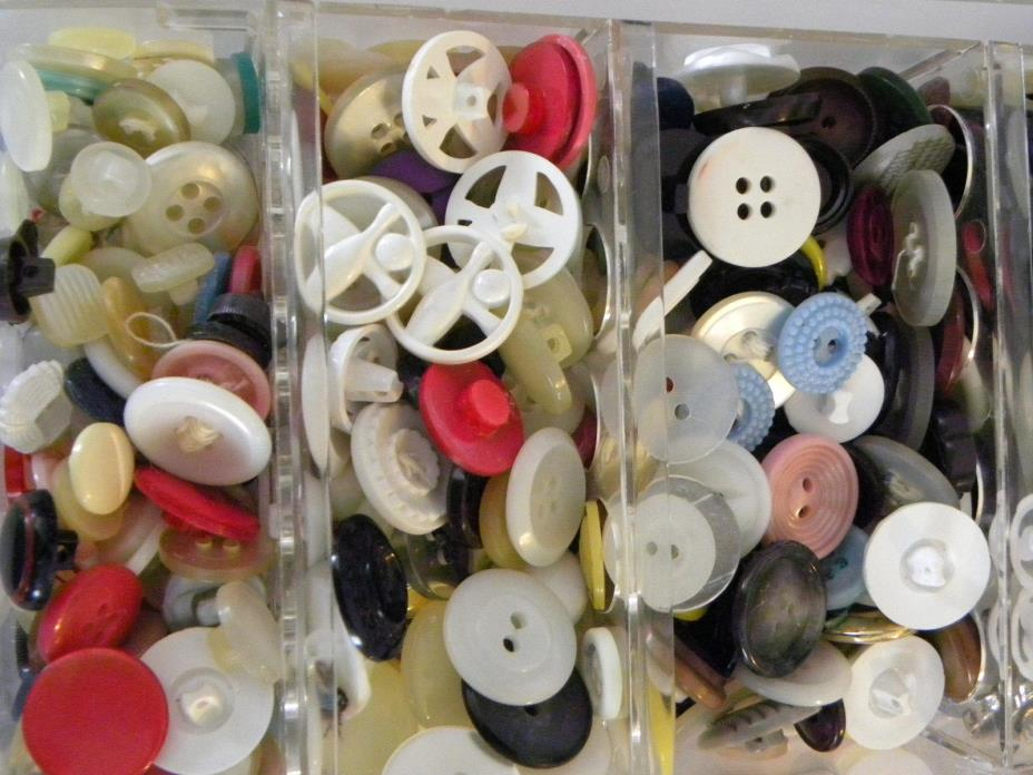 Vintage Lot Buttons Celluloid, Plastic, Shell, Metal, Lucite & all Colors shapes