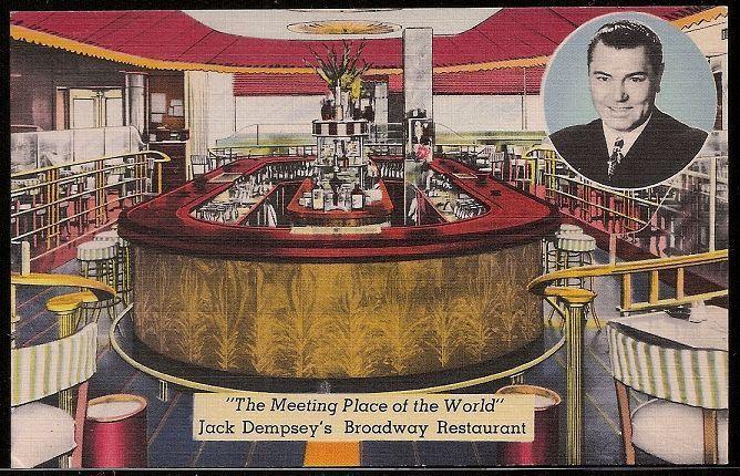 ca. 1930s JACK DEMPSEY Restaurant Postcard Boxing Boxer