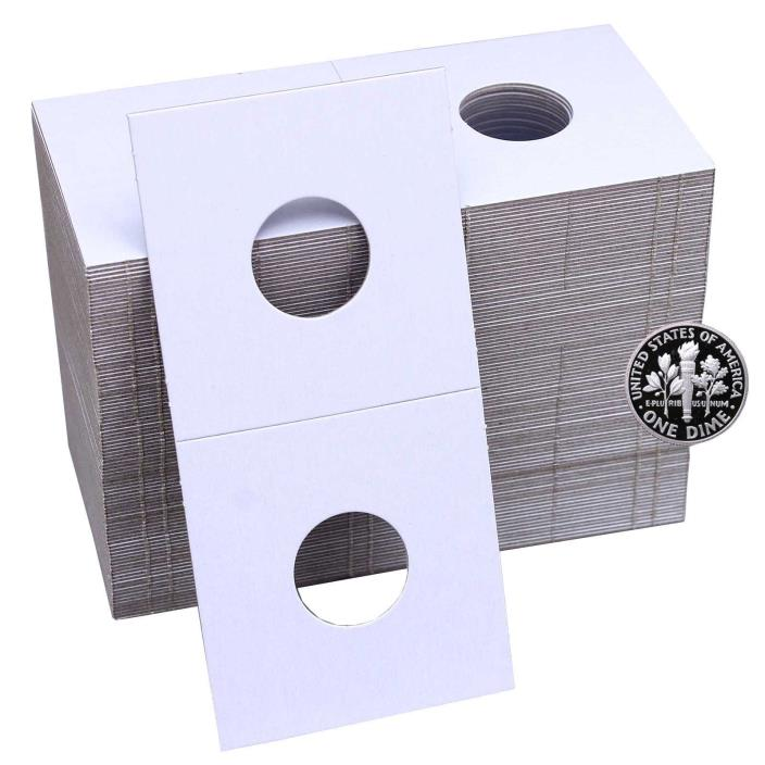 NEW 100 Cardboard 2x2 Coin Holder Mylar Flips for Dime