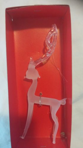 vintage christmas glass reindeer IOB-frosted, 7