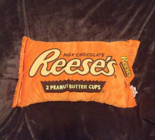Reeses Peanut Butter Cups Embroidered Plush Pillow sleepover decor comfy NWT