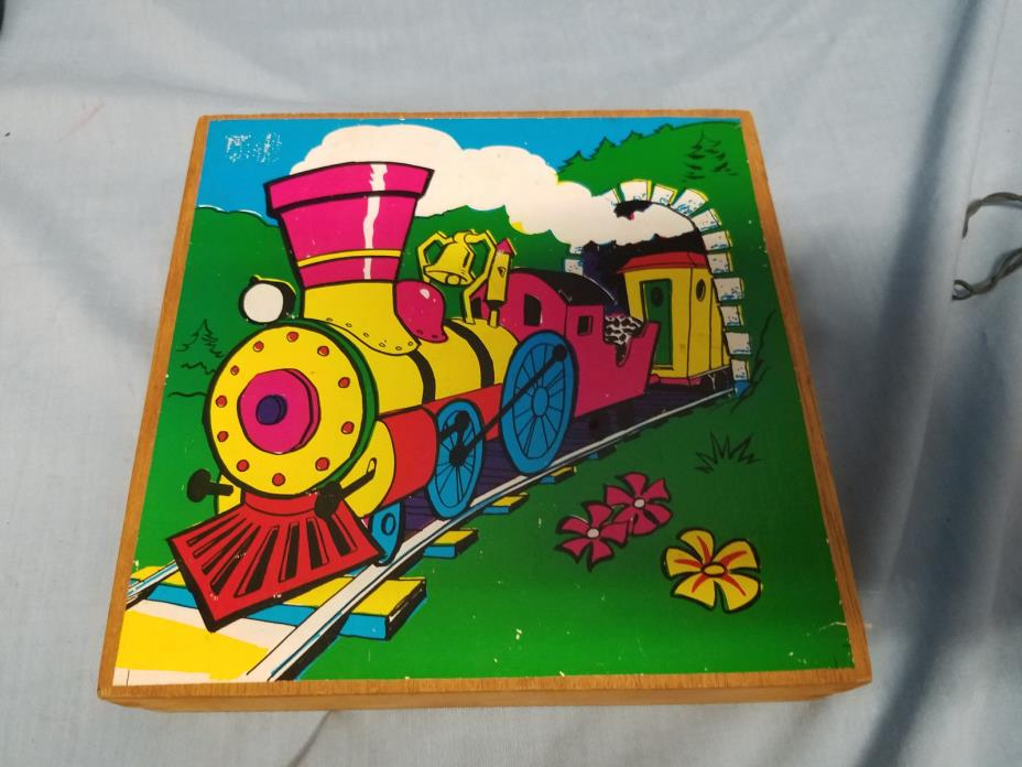picture cube blocks puzzle in wood container made in korea train