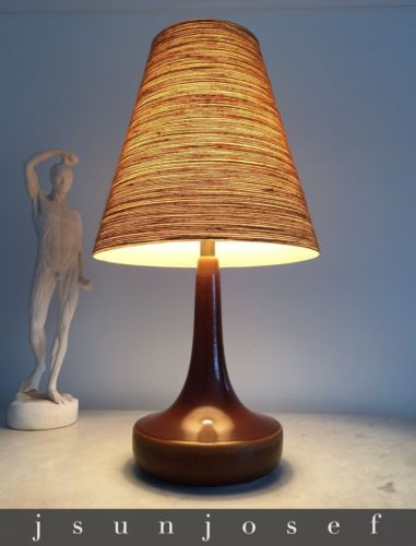 Savory Caramel Toffee Glaze Mid Century Art Pottery Lamp by Lotte Bostlund