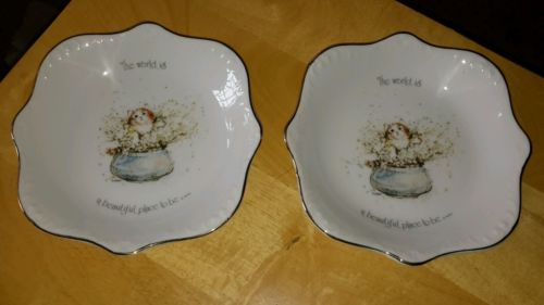 Two Porcelain Holly Hobbie Plates Kitten The World is a Beautiful Place... 1974