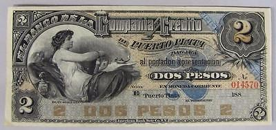 1880's Dominican Republic 2 Peso Note, Crisp AU.