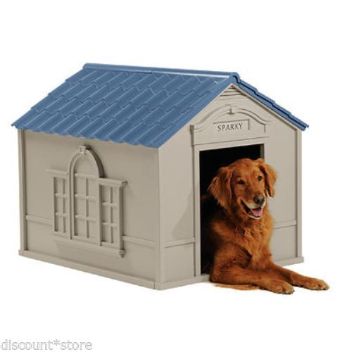 Outdoor Plastic Dog House Durable Resin Deluxe Extra Large Suncast Pet Home Cage