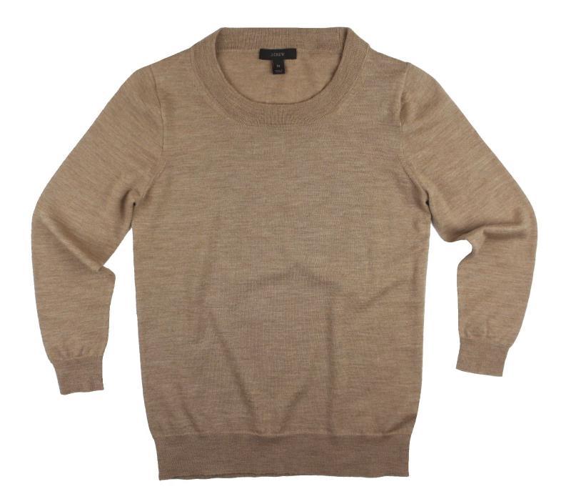 JCREW Petites Size PS P S  Camel Tan Merino Wool 3/4 Sleeve Tippi Sweater