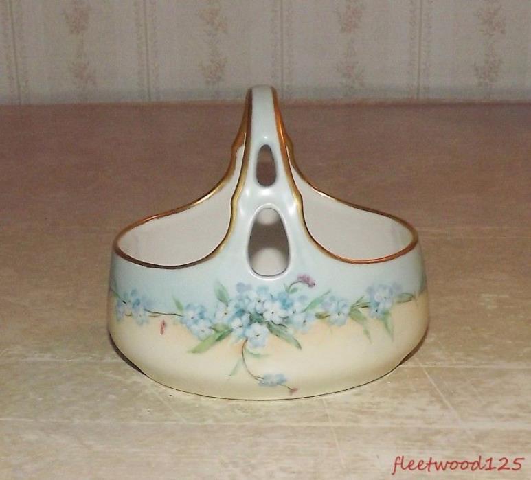 Vintage Porcelain Basket Hand Painted Gold Trim Marked? - 4