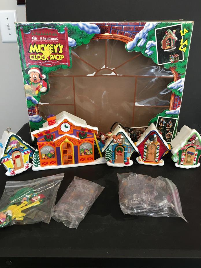 Vintage 1993 Disney Mr. Christmas Animated Mickey's Clock Shop