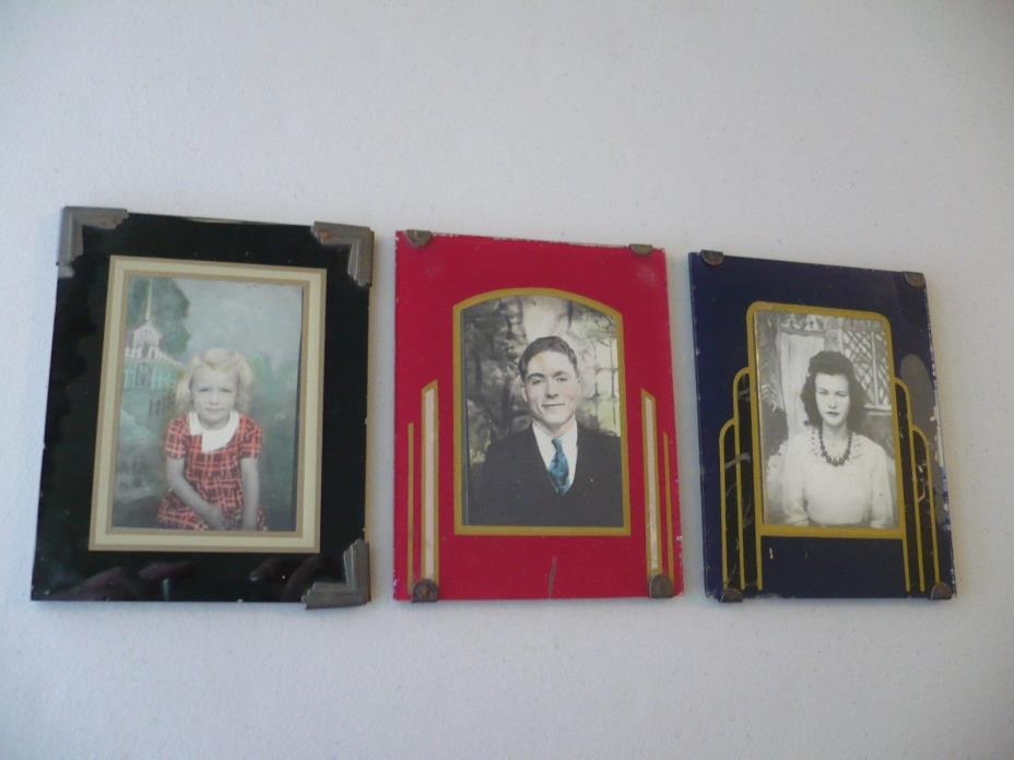 (3) Vintage Art Deco Glass Easel Back Picture Frames & Photographs