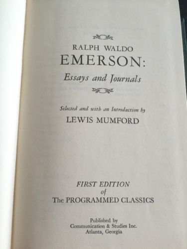 The Programmed Classics ESSAYS AND JOURNALS by Ralph Waldo Emerson Book 1968