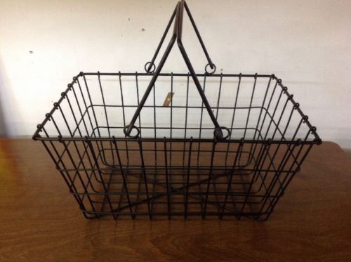 Vintage Style Primitive Black Wire Shopping Basket Rectangle NWT
