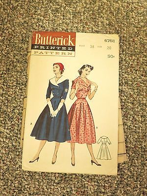 Butterick 6768 Vintage Sewing Patterns Women's Dress, sz 20 B 38 GREAT condition