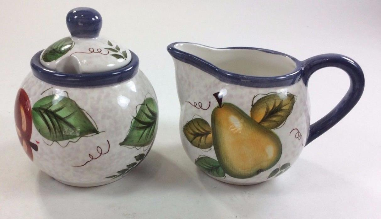 ONEIDA Vintage Fruit, Cream & Sugar Bowl, Blue & Fruit, Hand Painted