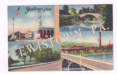 PA Lewistown Pennsylvania antique linen post card BIG LETTERS greetings from...