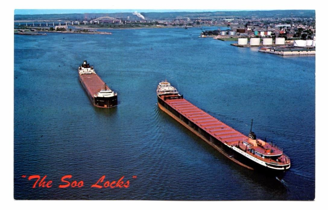 Soo Locks Michigan Postcard Sault Ste Marie Lake Freighters Lake Superior Huron