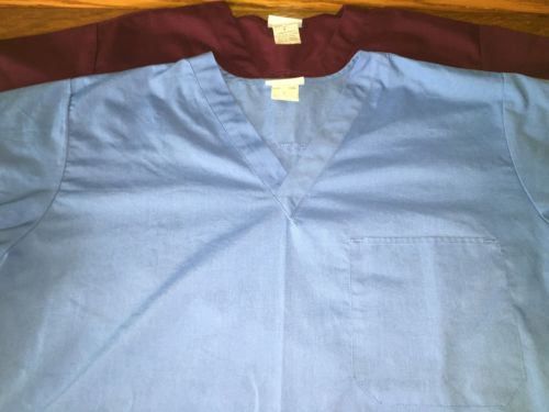 Lot 2 blue wine surgical medical scrubs tops chest pocket Life Essentials XL men