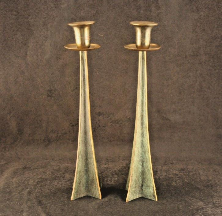 Modernistic Brass Verdigris Candlesticks Isreali