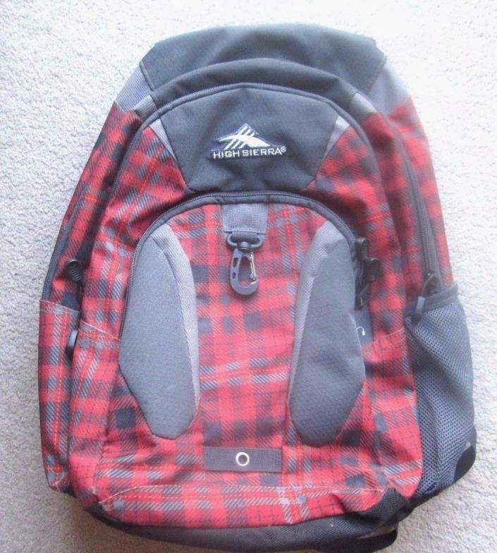 High Sierra Backpack Book Bag School Bag Red & Black & Gray Checkered Pattern