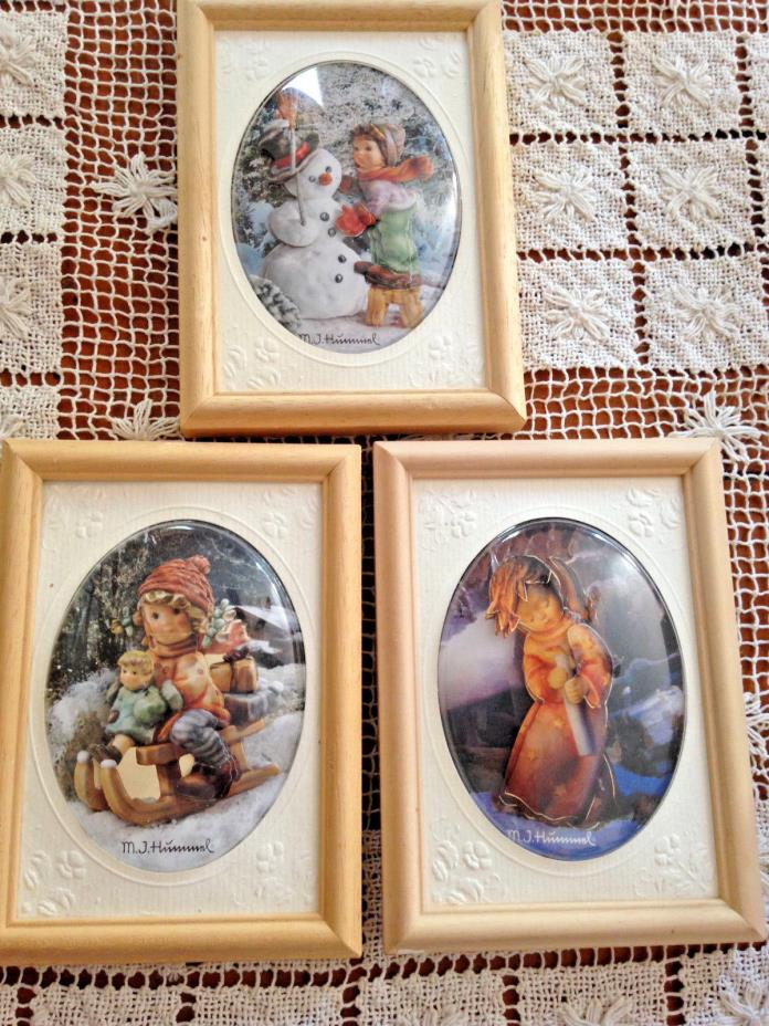 SET OF 3 VINTAGE 3D HUMMEL CHILDREN UNDER PLASTIC OVAL BUBBLES IN WOOD FRAMES