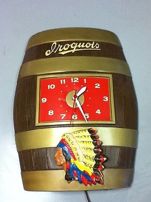 Iroquois beer sign vintage barrel wall clock indian chief 3-D keg old display