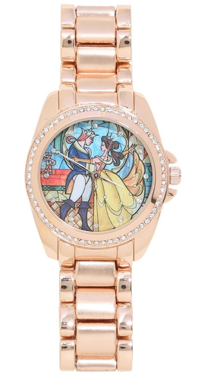 Disney BEAUTY and the BEAST Stained Glass Rose Gold WATCH Gemstones NIB New