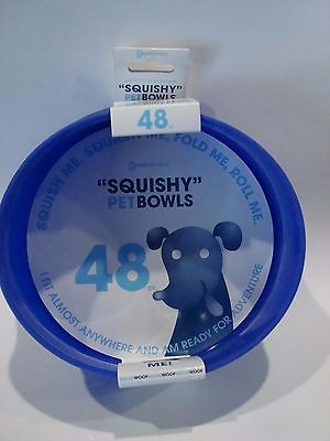 Guyot Designs Squishy Pet Bowls Tahoe Blue Easy Traveling Pet Bowl - 48oz -New