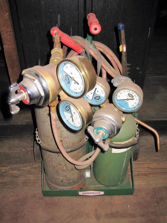 VINTAGE PREST-O-LITE GAS WELDING ACETYLENE TORCH REGULATORS CART EXTRAS LOCAL PU