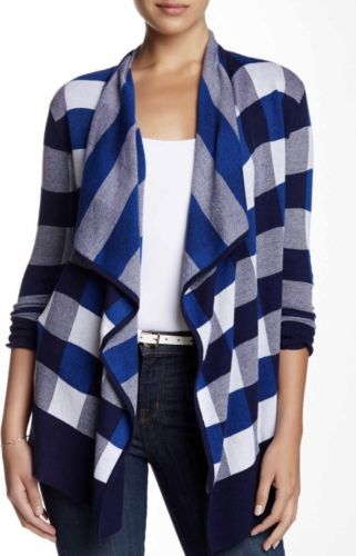 Foxcroft Woman's Extra Large Blue Multi Buffalo Plaid Open Cardigan NWT