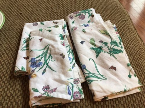 RARE Mikasa Studio Nova GARDEN BLOOM Cloth Napkin SET OF FOUR 4 Fabri