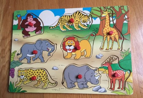 Vintage Wild Animal Wood Puzzle Wooden
