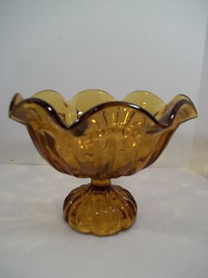AMBER GLASS FLUTED PEDESTAL CANDY DISH 6