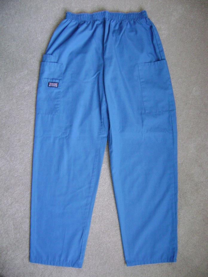 NEW CHEROKEE WOMEN'S SCRUB PANTS BOTTOMS ROYAL BLUE COTTON SCRUBS CARGO S SMALL