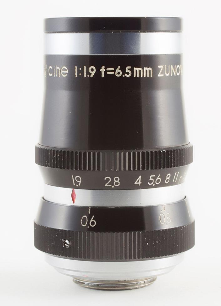 ZUNOW OPTICAL WIDE-ZUNOW CINE 6.5mm F/1.9 D-MOUNT LENS FOR 8mm MOVIE CAMERAS