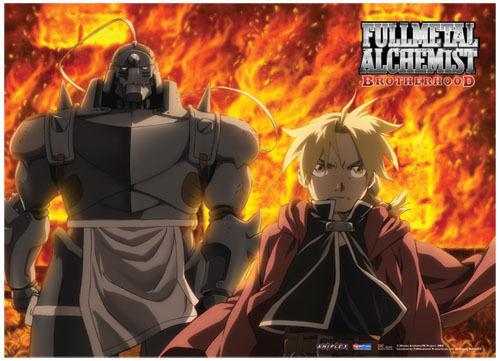 Fullmetal Alchemist Brotherhood: Ed and Al Fire Fabric Poster (Wall Art) GE77693