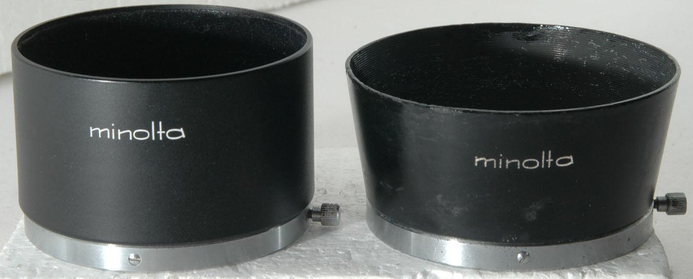two metal Minolta Clamp-on Type D57K type Lens Hoods: D57KB  D57KD