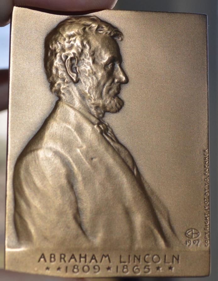 ABRAHAM LINCOLN BRONZE PLAQUETT MEDAL V D BRENNER MEDALLIC ARTS CO 1971