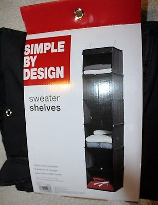 Simple By Design BLACK  Sweater 6 Shelves HANGING  RACK 54 X 12 X 12  NEW